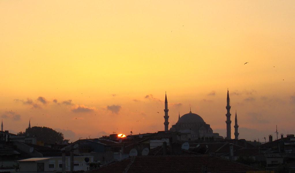 panoramica vista de Estambul de noche Turquía
