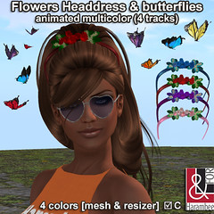 Flowers Headdress & animated Butterflies