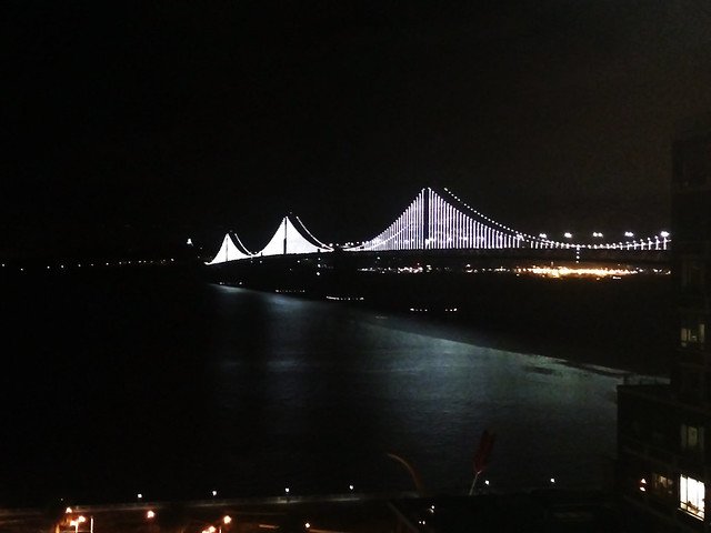 Bay bridge night lights, San Francisco