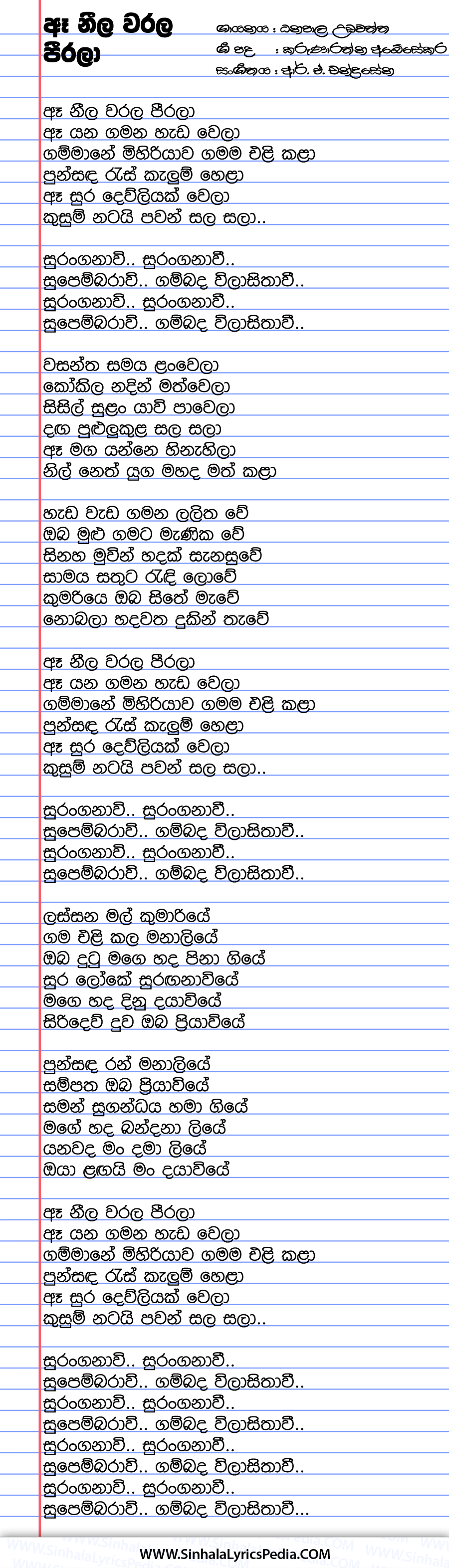 Ae Neela Warala Peerala Song Lyrics