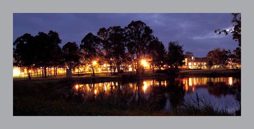 western sydney university lake night nsw panorama