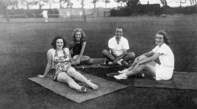 Leisure time at the tennis fields of Le Cercle Sportif Français, Shanghai, ca 1935-40