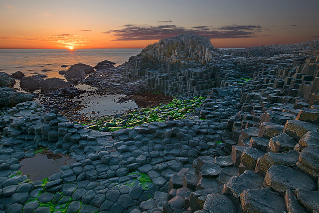 Sunset at Giant Causeway