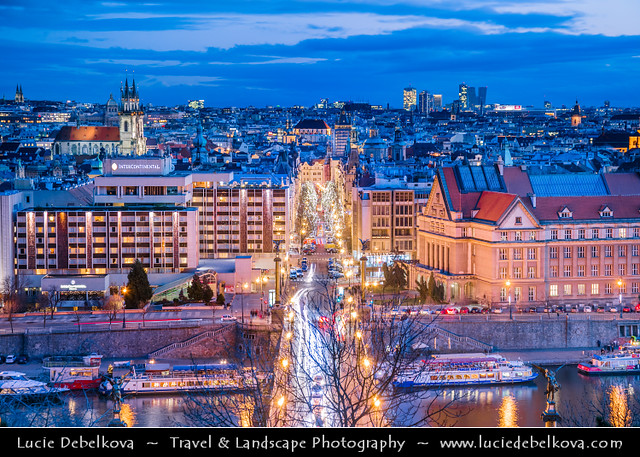 Czech Republic - Prague - Parizska Street with Christmas Lights leading towerds Old Town Square