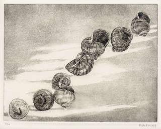 Empty snail houses - etching+aquatint 24x31cm 1977 | by Landscape/ People in oil paint watercolor etching