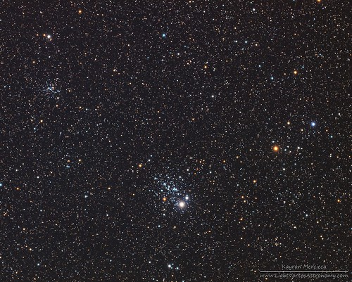 NGC457 Dragonfly Cluster and NGC436 Star Cluster in LRGB | by LightVortexAstronomy