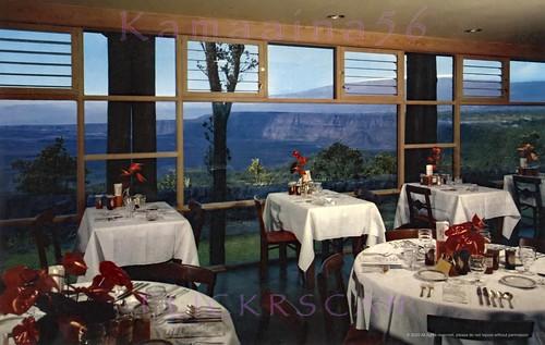 1950s volcano bigisland hawaii hotel postcard interior restaurant