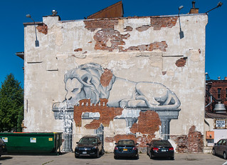 Decrepit Mural of Resting Lion on Doric Columns | by jay galvin