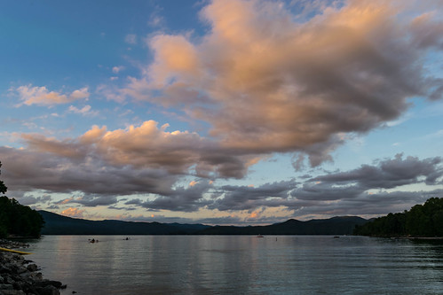 sunset lake clouds landscape jocassee usa water weather northcarolina timeofday