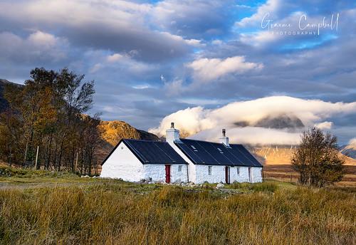 scotland glencoe rannoch house cottage alba uk europe nikon d600 sunrise trees mountain etivemor etive sky clouds landscape remote light sunlight grass ngc