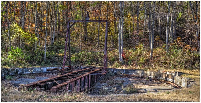 Abandoned Railroad Turntable along the Armstrong Rails to Trails in Clarion County.