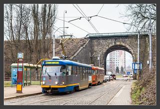 Tatrazug an der Haltestelle Viadukt