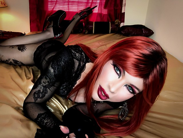 Gothic lingerie and high heels