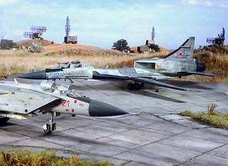 """1:72 Mikoyan-Gurewitsch Izdeliye 71.2 """"жура́вль/Crane"""" (NATO ASCC code """"Fastback""""); aircraft """"12 Blue"""", 2nd prototype during flight and weapon tests at Savasleyka Air Base, 1995 (Whif/kit-bashing)"""