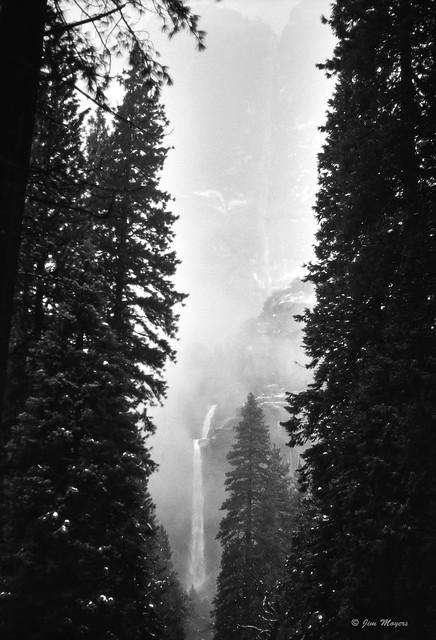 Yosemite Falls in Snowstorm
