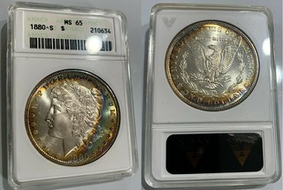 1880-S Morgan ANACS MS65 Toned Holder