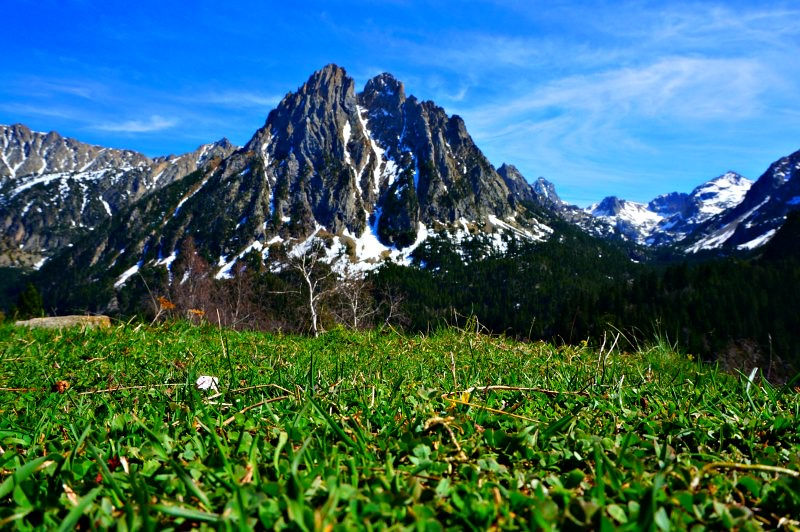Stunning Mountain Range with Green Meadow Pyrenees Mountains Spain