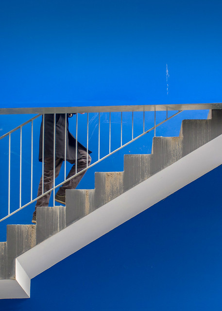 abstract blue staircase