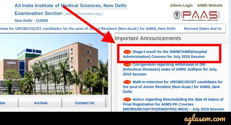 AIIMS DM / MCh / MD Result 2019
