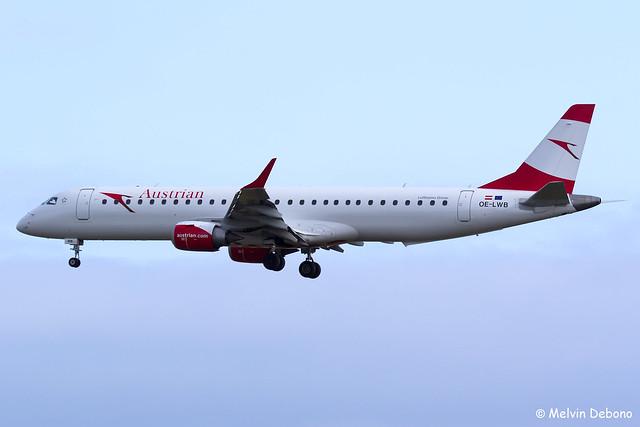 Austrian Airlines Embraer 190-200LR  |  OE-LWB  |  Frankfurt Rhein-Main  - EDDF