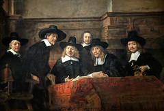 """The Officials of the Drapers Guild"""" by Rembrandt, oil on canvas, 1662"""