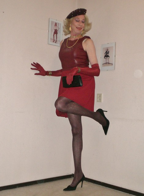 Red dress, gloves and beret.