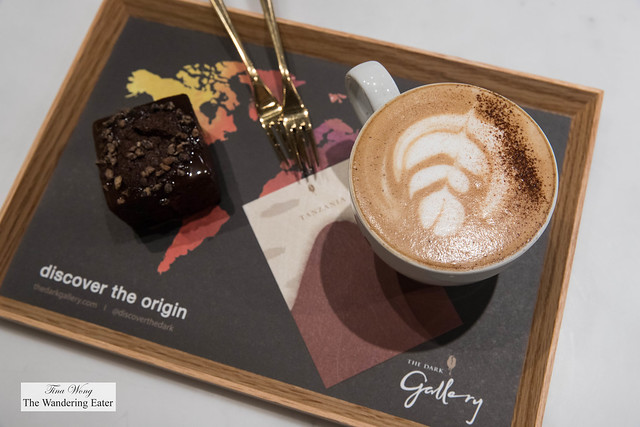 Single Origin Pourover Coffee Chocolate Pairing Platter: 75% Tanzanian mocha and 75% Tanzanian brownie with chocolate sauce and caramelized cacao nibs