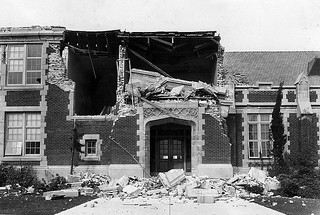 A historic image of quake damage in Long Beach, California, 1933.