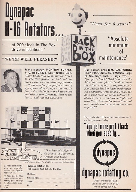 dynapac Jack in the Box sign ad - California Neon Products - 1966