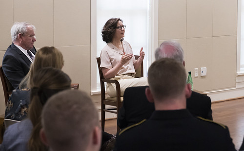 Central Intelligence Agency Director Gina Haspel speaks with Auburn students.