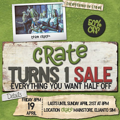 crate 50% Off All Starts 4/19 8PM SLT