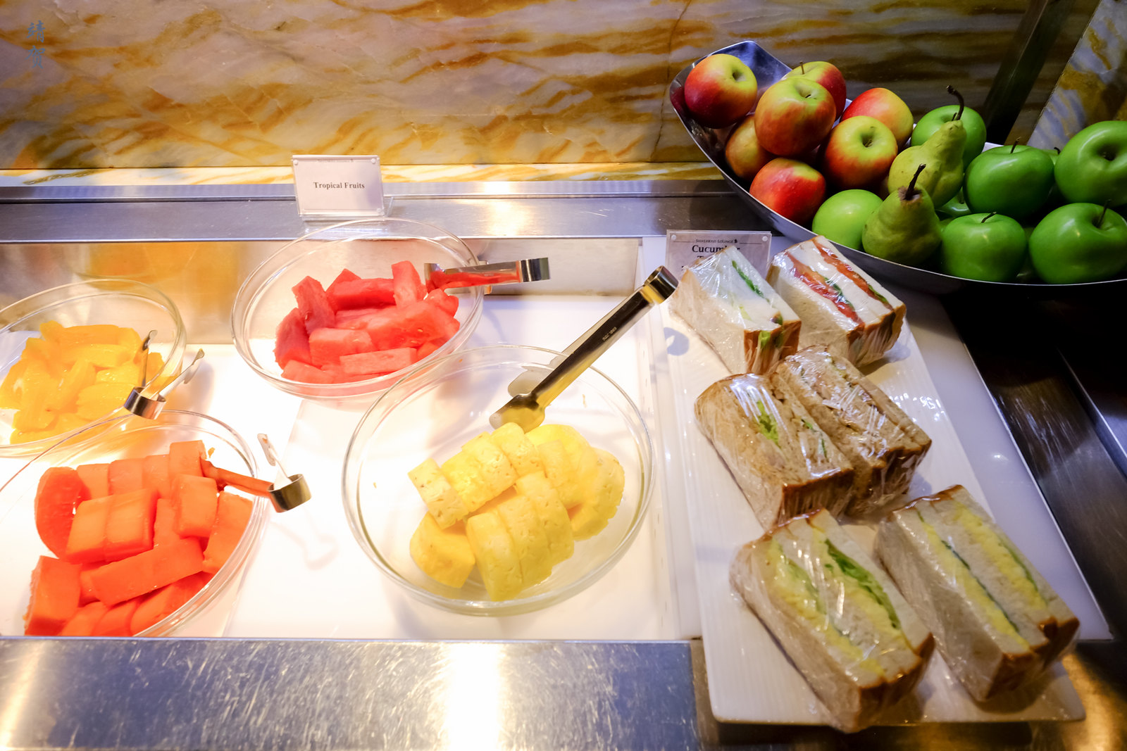 Fruits and sandwiches
