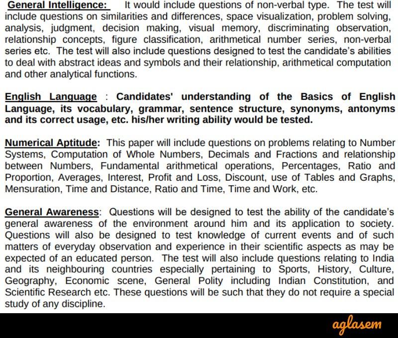 Syllabus of SSC MTS Paper I