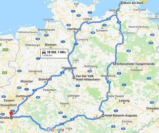 Route: Köln - Weimar - Tangermünde - Darß - Hildesheim - Köln