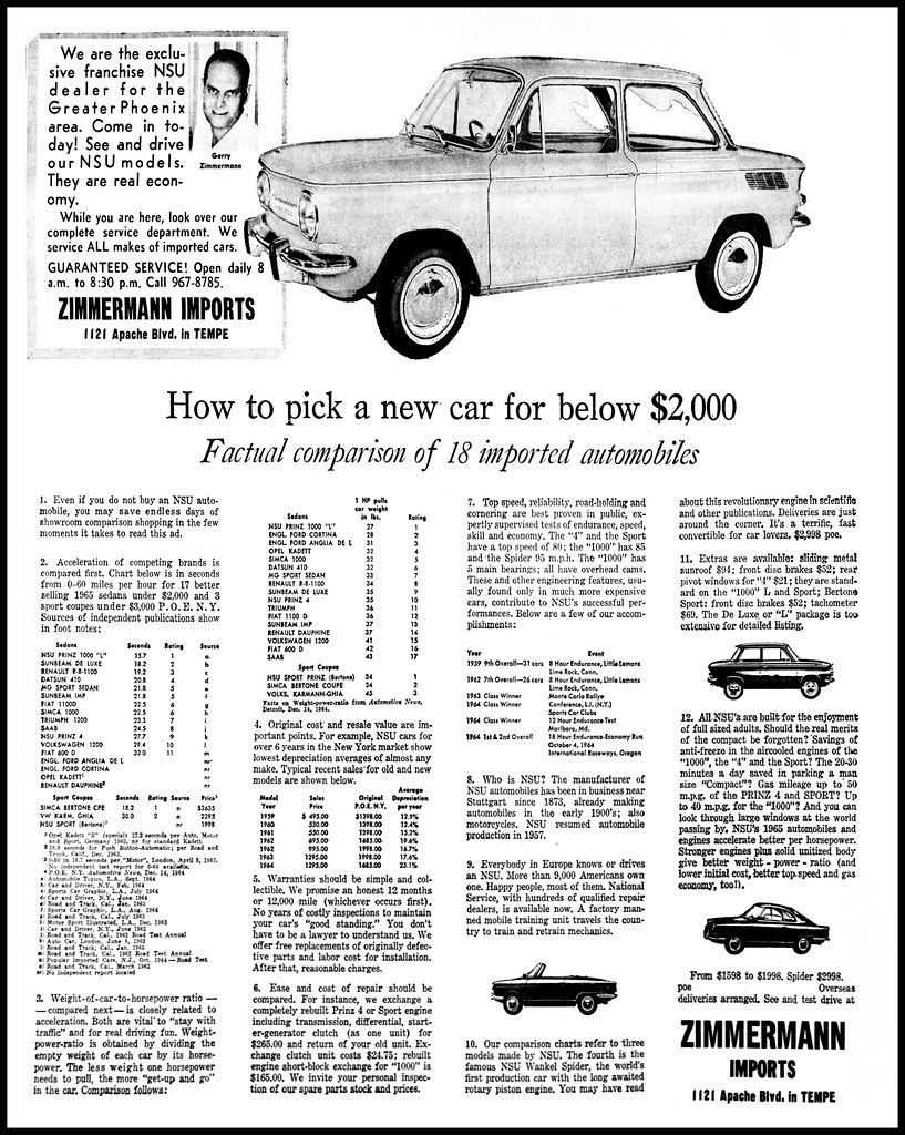 Vintage Advertising For The 1965 NSU Automobile In The Ari… | Flickr