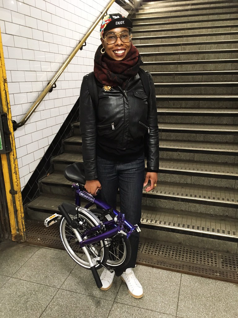 Jools Walker at Chancery Lane Underground Station with her Brompton, after a day of cycling.