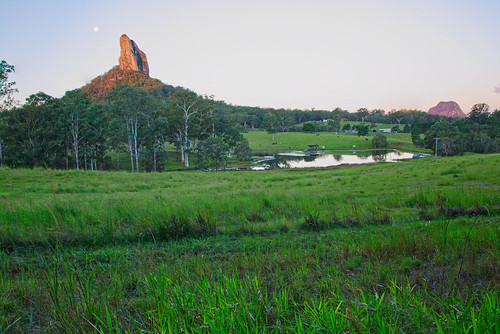 australia queensland glasshousemountains sunshinecoast landscape mountain lake water trees green sky moon sundaylights