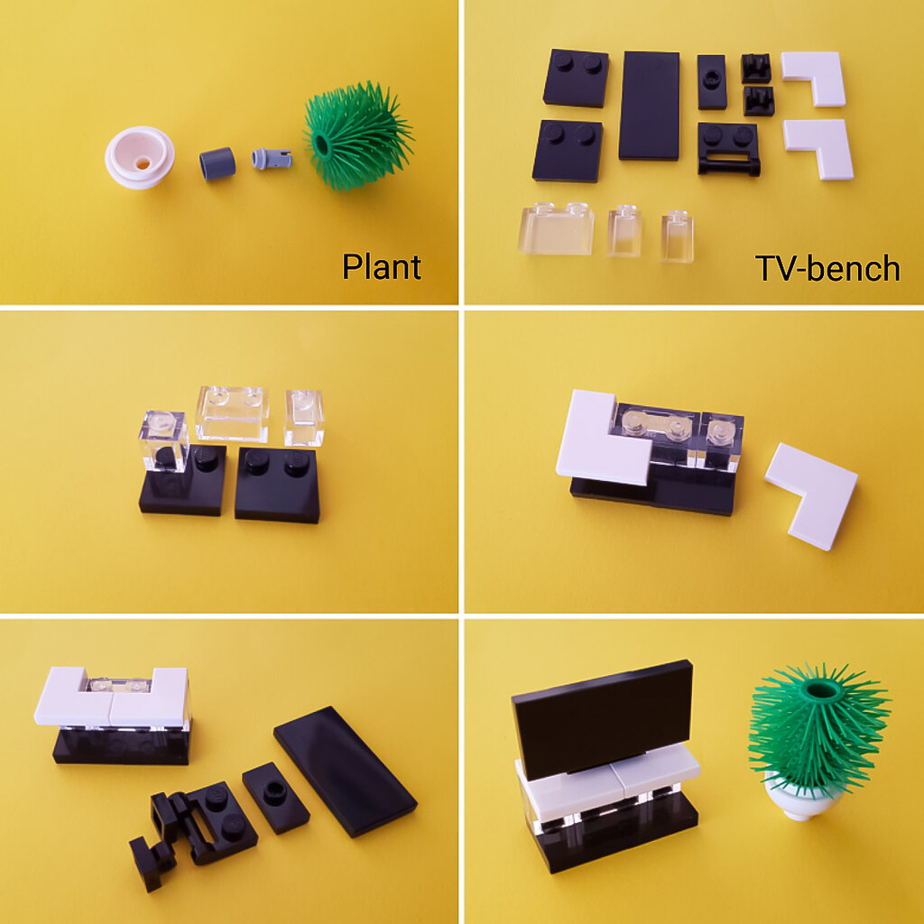 Plant and TV bench tutorial (Checkered Tan House MOC)