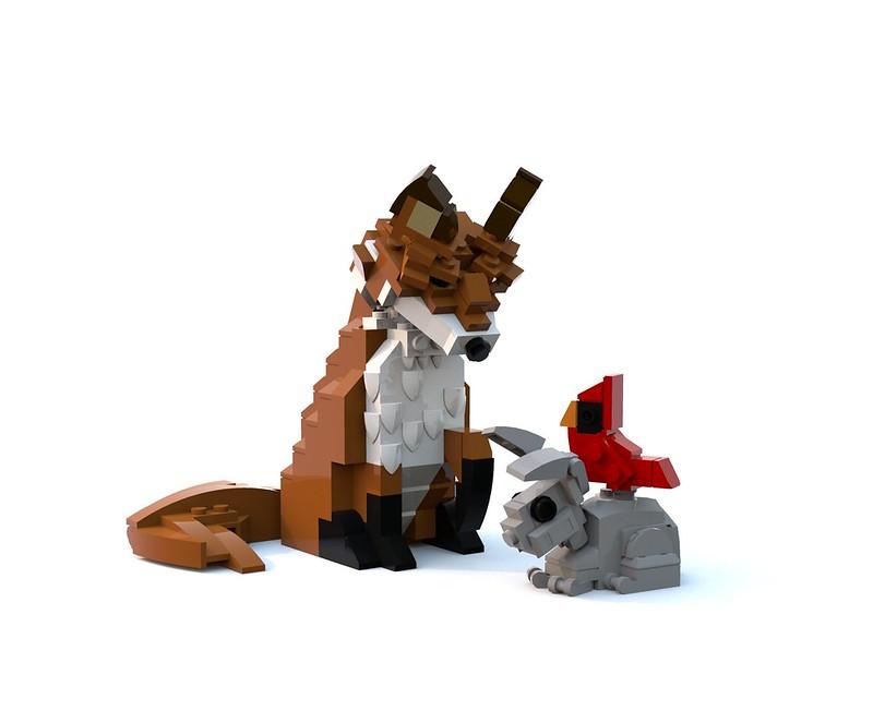 Fox Bunny Cardinal trio