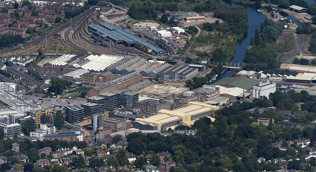 Norwich - aerial view - the changing face of Carrow