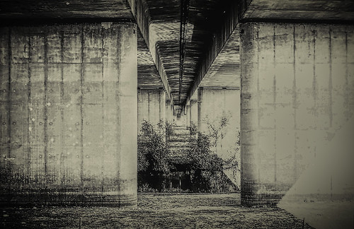 Under the concrete bridge