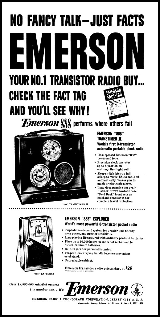 Vintage Advertising For The Emerson 888 Transtimer II And
