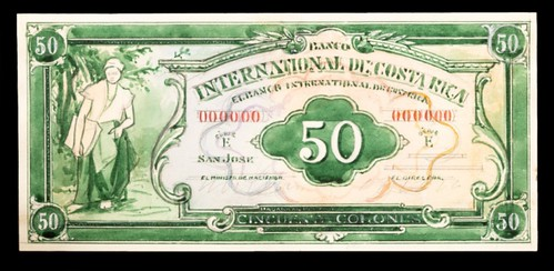 Costa Rica banknote design by Leonard Fryer