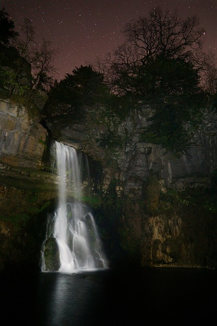 Thornton Force waterfall at night