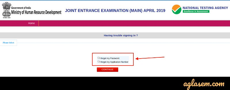 JEE Main 2019 Forgot Password / Application Number