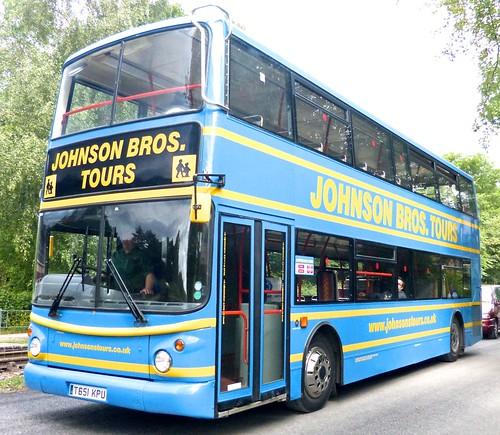 T651 KPU 'Johnson Brothers Tours', Worksop. Dennis Trident / Alexander ALX 400 on Dennis Basford's railsroadsrunways.blogspot.co.uk'