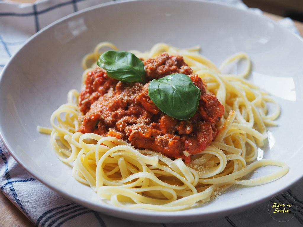 Vegansk spaghetti med färssås 7