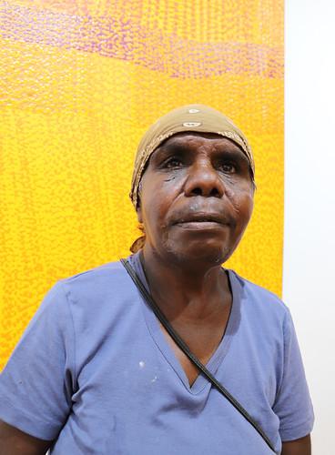 Featured artist Winnifred Nanala of Warlayirti Artists. Photograph by Poppy Lever.