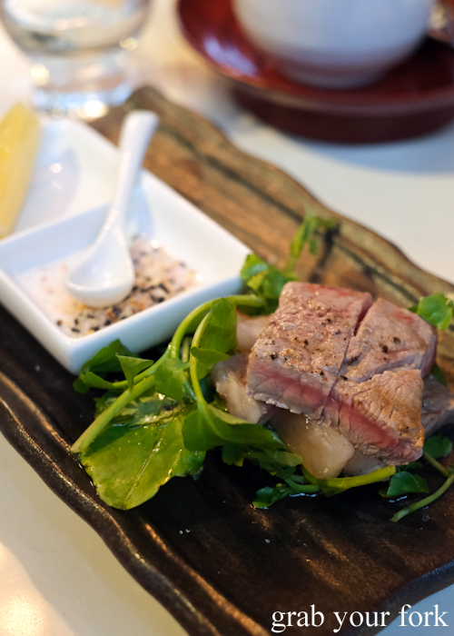 Seared beef, part of the omakase sushi menu at Osaka Bar in Darlinghurst Sydney