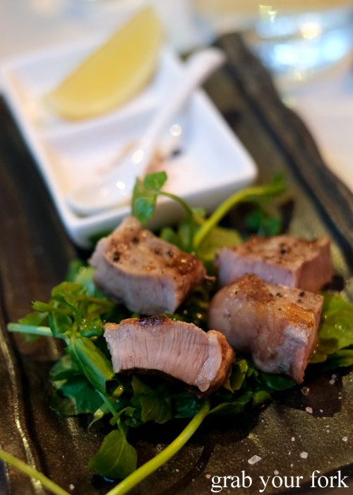 Grilled pork fillet during the omakase sushi at Osaka Bar in Darlinghurst Sydney